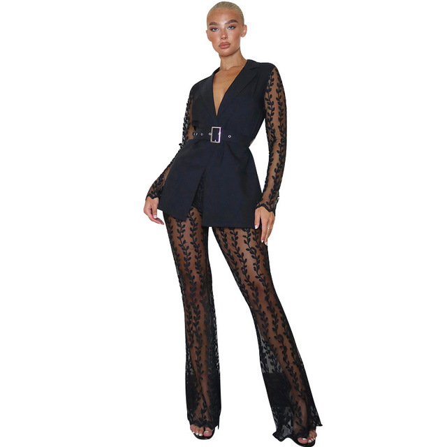 2021 Fashionable Women Lace Party Outfits Embroidery Two Piece Sets Lady's V-Neck Sashes Tops High Waist See Through Flared Pant 5