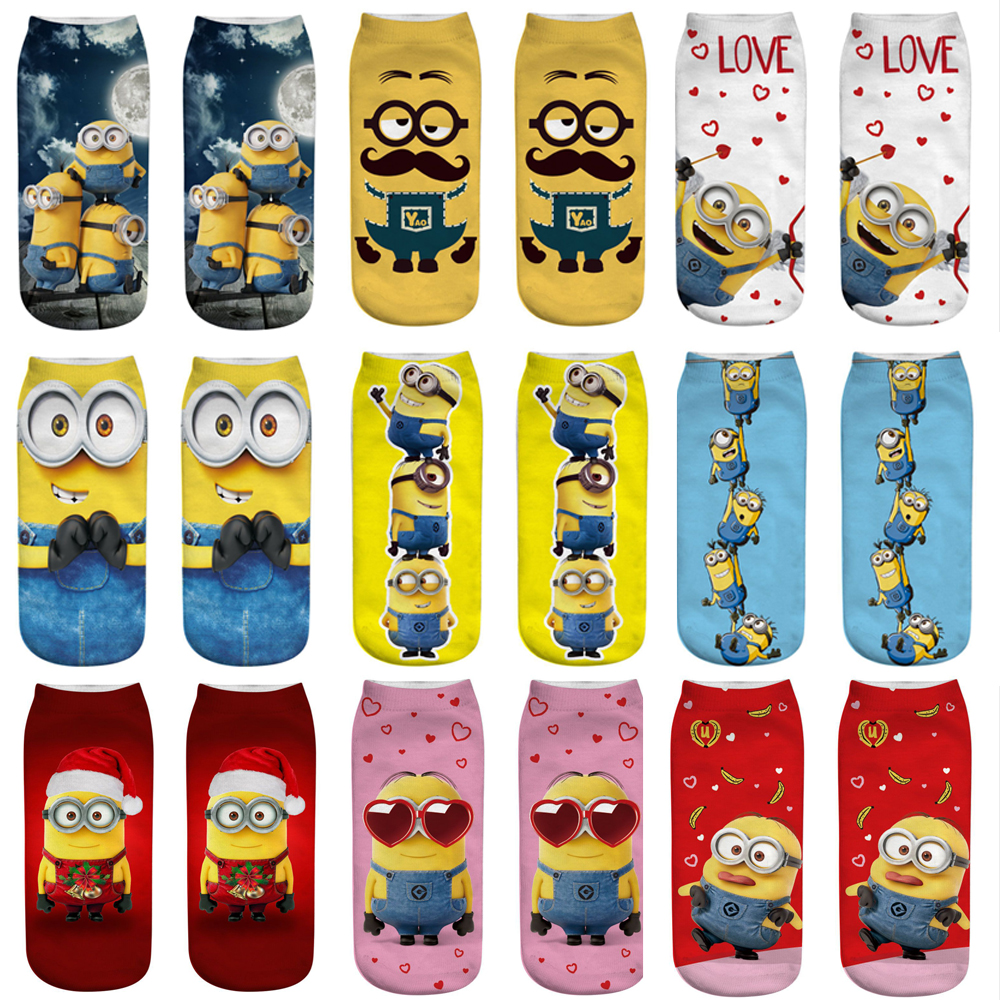 3D Print Women Man Cartoon Minions Funny Socks Colorful Boy Girl Ankle Socks Cute Popsocket Japanese Korean Socks Streetwear