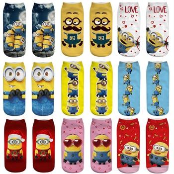цена на 3D Print Women Man Cartoon Minions Funny Socks Colorful Boy Girl Ankle Socks Cute Popsocket Japanese Korean Socks Streetwear