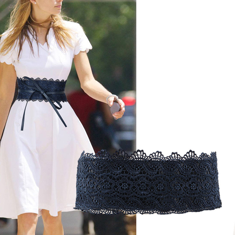 Women Waist Band Lace PU Leather Self Tie Wrap Around Waistband Obi Cinch Dress Belt NIN668