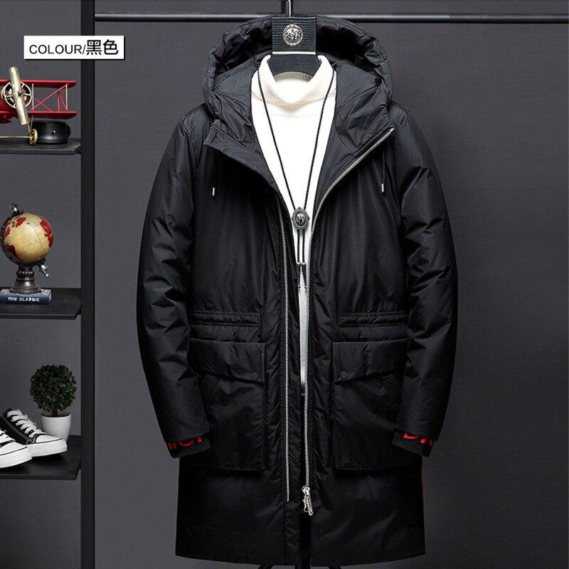 Hommes hiver pardessus mi long à capuche manteau hommes vêtements de style coréen tendance beau noir et blanc avec motif épais chaud vers le bas J - 2