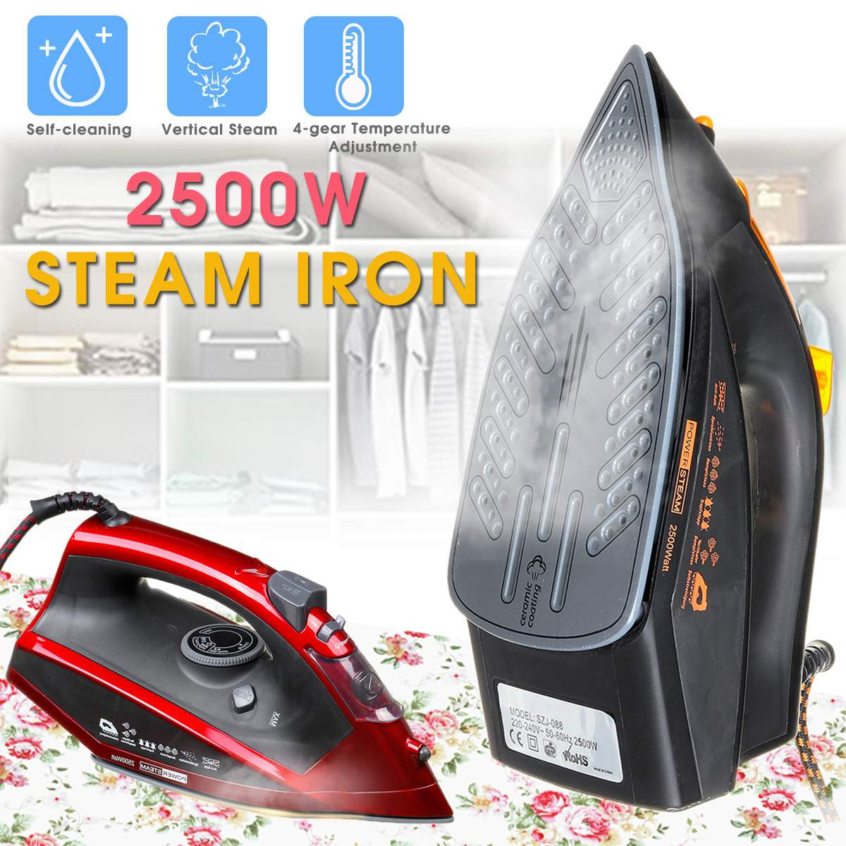 2500W Steam Iron For Clothes 350ml 4 Level Adjustable Vertical Electric Irons Self-Cleaning Travel Portable Ironing Steamer