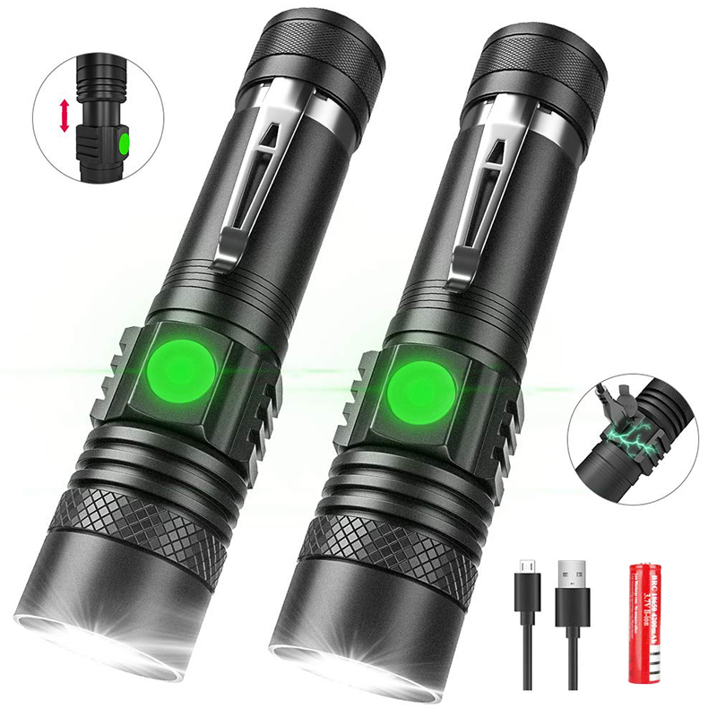 Super Bright Led Flashlight USB Linterna Led Torch T6/L2/V6 Power Tips Zoomable Bicycle Light Rechargeable With 18650