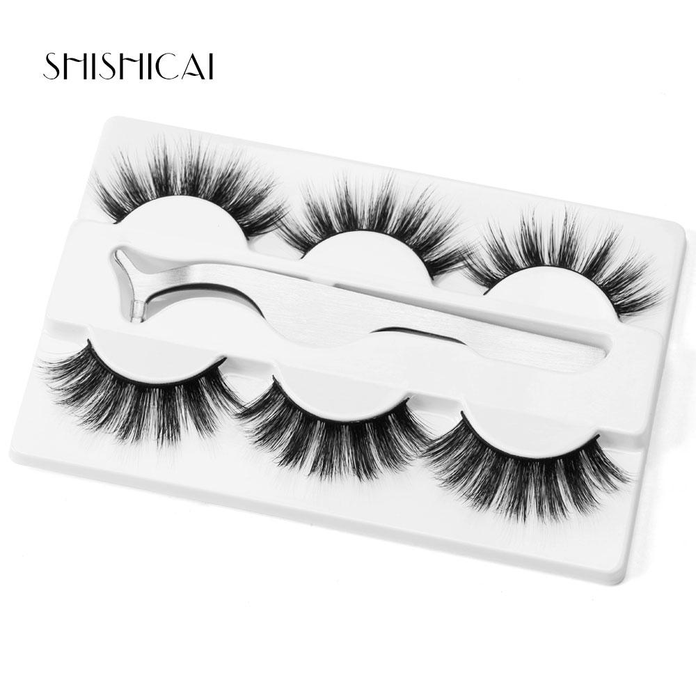 3 Pairs 3D Mink Eyelashes Handmade Crossing Lashes Natural Dramatic Volume Extension False