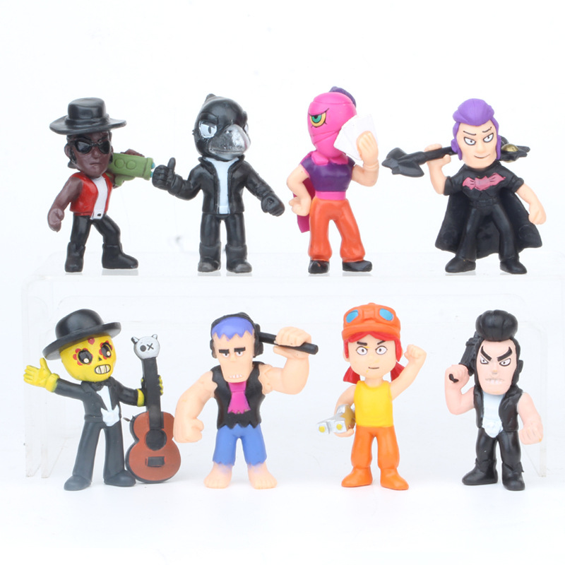 8pcs/lot Brawl Figure Game Anime Star Hero Model Spike Shelly Colt Leon Figuresdoll New Year Xmas Toy Gift For Children