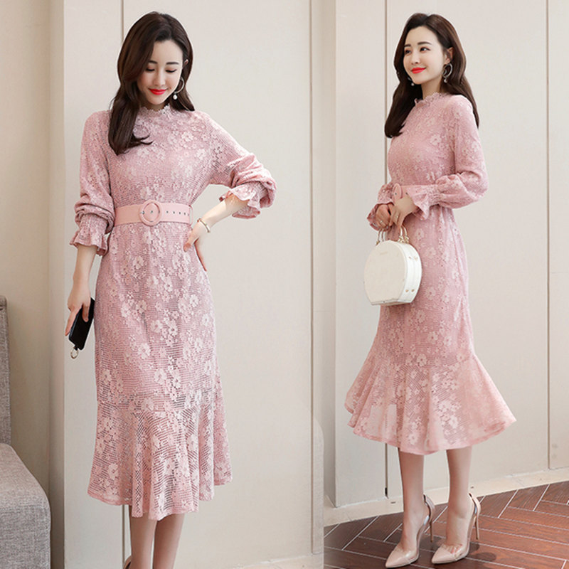 2019 WOMEN'S Dress New Style Autumn Pink Lantern Sleeve Long Skirts Flounced Skirt Base Underwear Lace Dress Women's