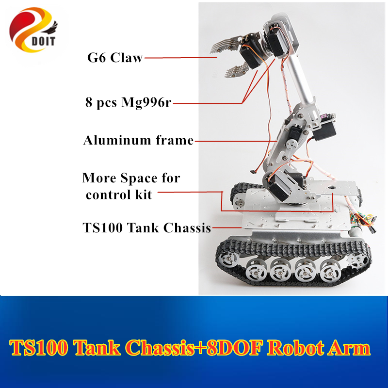 Mobile Robot <font><b>TS100</b></font> Shock Absorber <font><b>Tank</b></font> Chassis+8 DOF Mechanical Arm for Grabbing Transport DIY Educational Project image