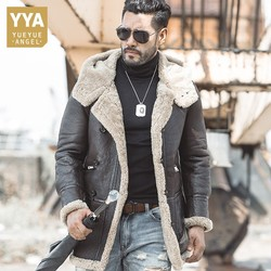 Luxury Sheep Shearling Men Mid Long Outerwear Coat Genuine Leather Winter Real Fur Lining Single Breasted Hooded Coats Plus Size