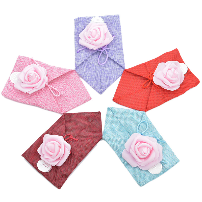 50pcs/lot 12x21cm Linen Drawstring Storage Package Bag With Rose Flower Candy Bags Wedding Party Gift Bags