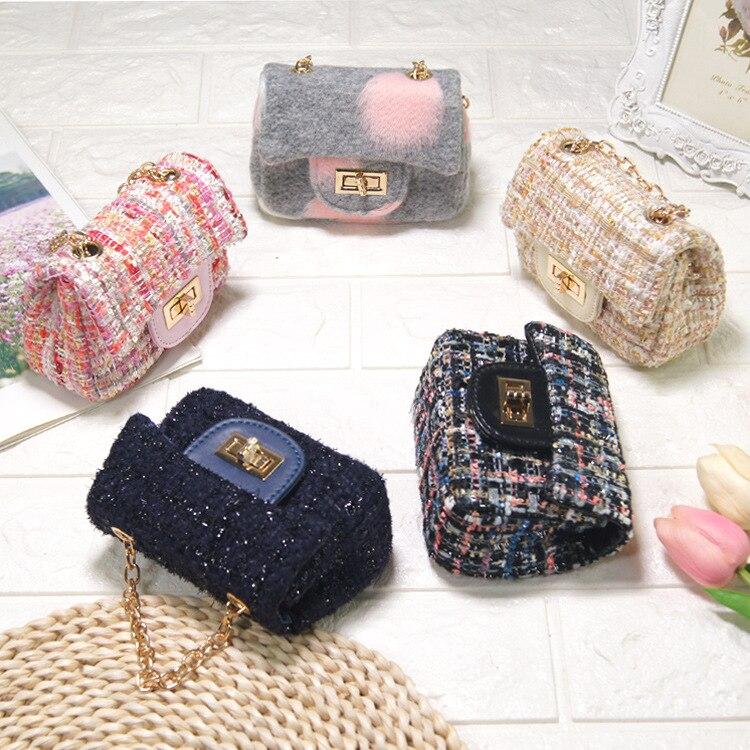 Autumn Winter Kids Crossbody Bags Cute Woolen Baby Girl Princess Purses And Handbags Kid Wallet Shoulder Bag