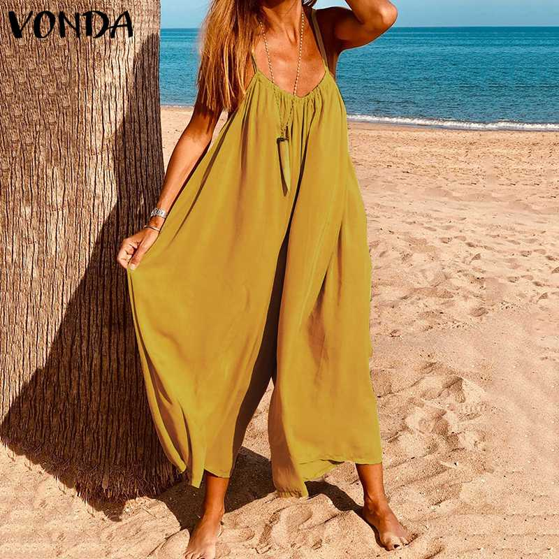 VONDA 2020 Summer Pants Sexy V Neck Sleeveless Playsuits Women Wide Leg Pants Casual Loose Overalls Plus Size Rompers Jumpsuits