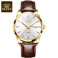 OLEVS 2020 New Best Selling Mens Watches Luminous Dual Display Leather Waterproof Sport Quartz Watch For Men Relogio Masculino 1
