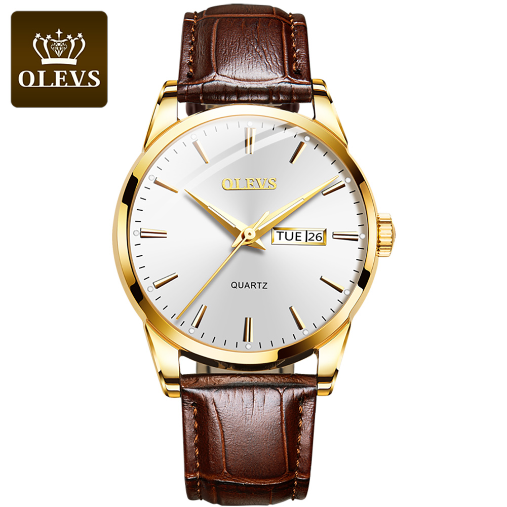 OLEVS 2020 New Best Selling Mens Watches Luminous Dual Display Leather Waterproof Sport Quartz Watch For Men Relogio Masculino
