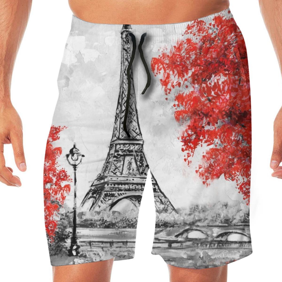 Men Casual Summer Hawaiian Beach Pants Half Trousers Couple Under Umbrella On Eiffel Tower Painting