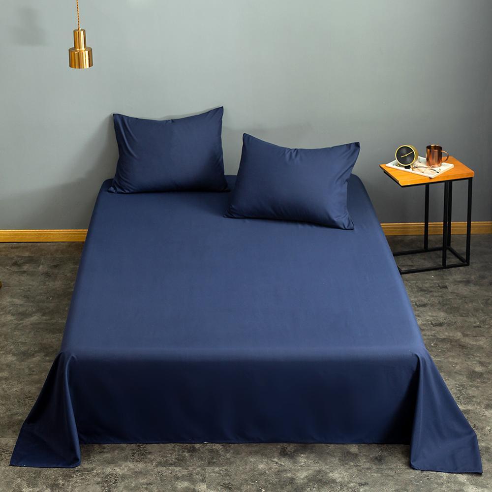 1 pc Flat Top Sheet Blue Color Plain Dyed Bed Linen 2sp for Double Bed sabanas de cama Solid Color Top Bedsheet