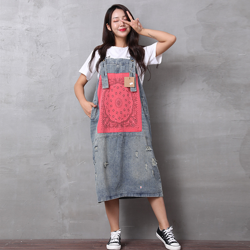 March Produced Japanese-style Retro Literature And Art-Style Joint Applique Washing Retro Dress Large Size Cowboy Strap Dress