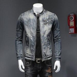 Image 5 - Mens ג ינס מעיל רחוב צווארון עומד רוכסן Biker סגנון קאובוי ארוך שרוול מעיל קלאסי בציר היפ הופ ז אן מעיל להאריך ימים יותר