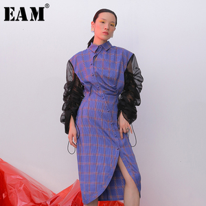 [EAM] Women Purple Plaid Asymmetrical Pleated Dress New Lapel Long Puff Sleeve Loose Fit Fashion Spring Autumn 2020 1D352