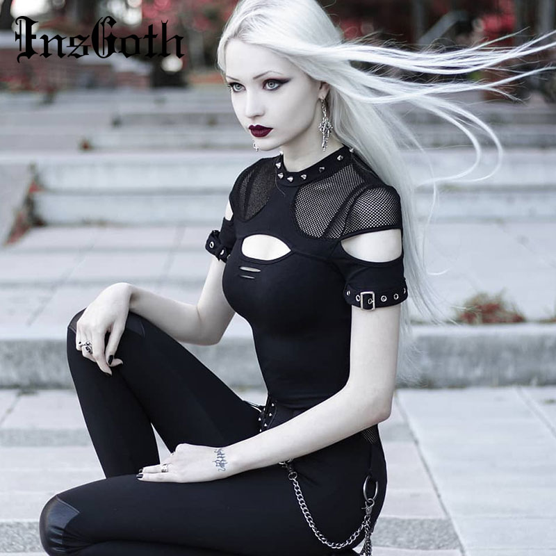 InsGoth Women T-shirts Gothic Punk Chix Black T-shirts Casual Slim Mesh Hole Rivet Sexy Short Sleeve Top Hip Hop Female Goth Top