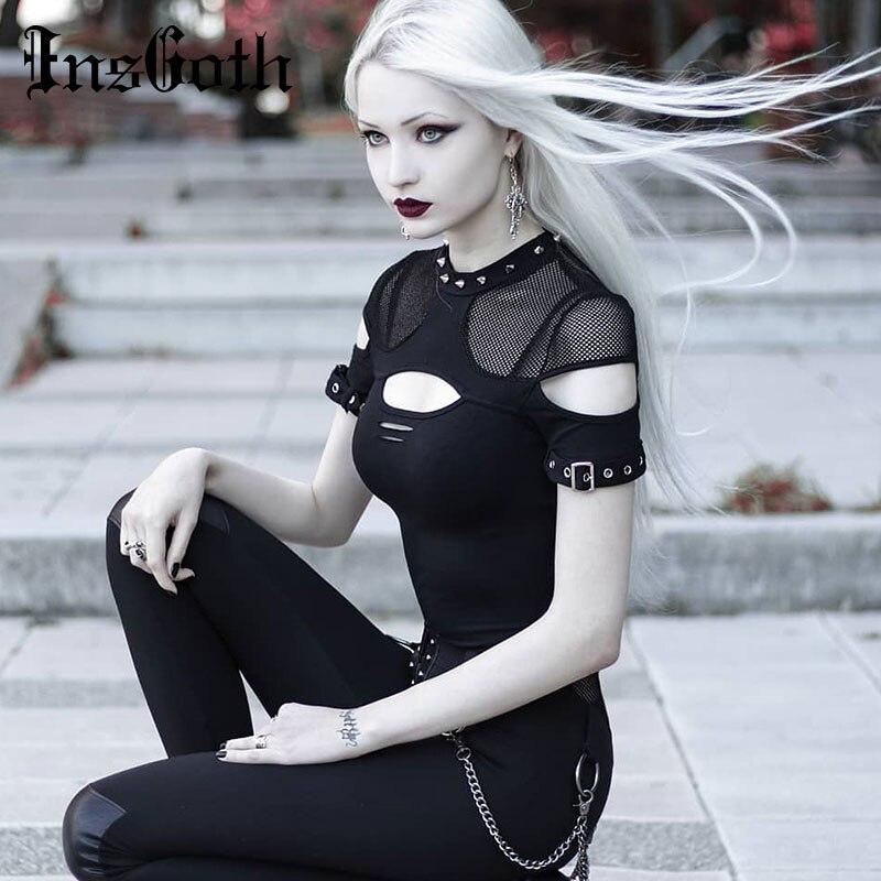 InsGoth Women T-shirts Gothic Punk Chix Black T-shirts Casual Slim Mesh Hole Rivet Sexy Short Sleeve Top Hip Hop Female Goth Top