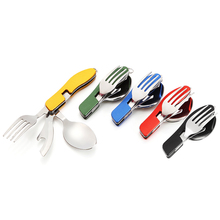 COG Multi-function Outdoor Camping Picnic Folding Tableware Stainless Steel Cutlery 4 in 1 Spoon Fork Knife&Bottle Opener