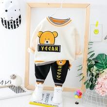 Winter Fleece Baby Boy Clothes Outfit Cartoon Bear Hoodie+Trousers 2PCS Thicken Warm Boys Suit Cotton Newborn Kids Set 1-3 Years