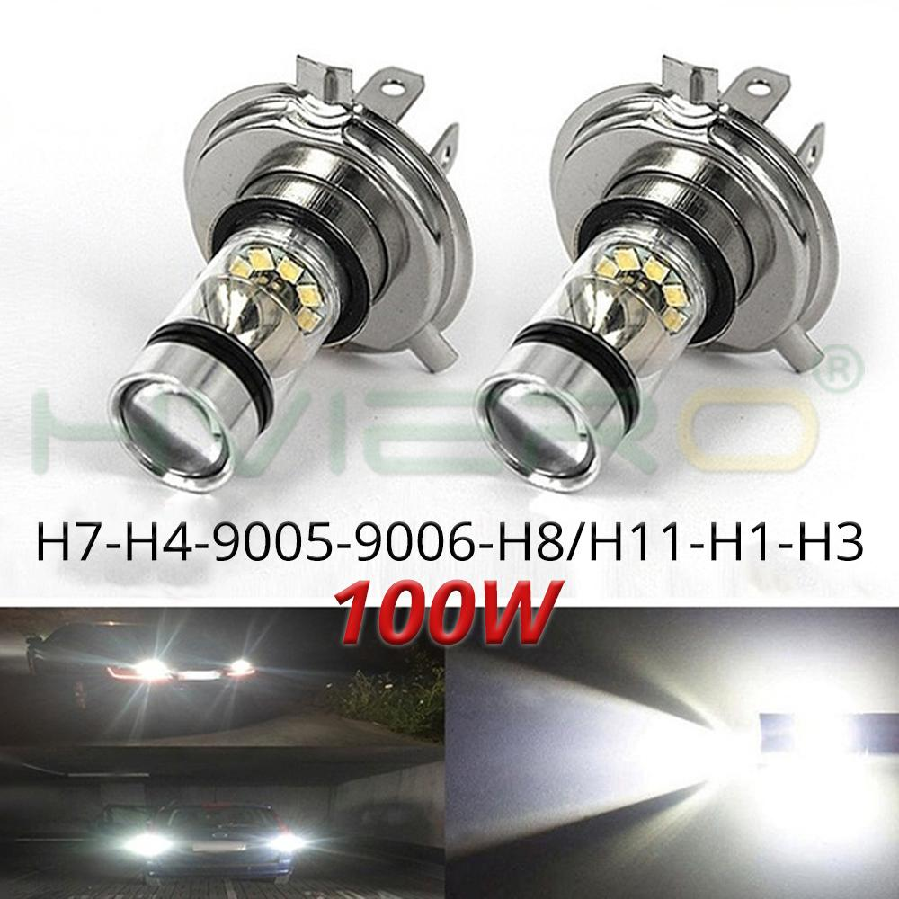 1Pcs Fog Light 100W Led  H4 H7 H1 H3 8000K Headlight White Light Bright Fog Lamp Bulb Plug And Play Fog Bulb Direct Replaceme