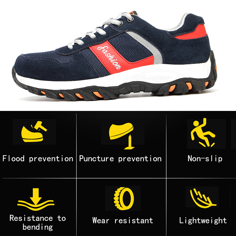 Breathable Men Shoes Steel Toe Boots Puncture Proof Work Safety Shoes Outdoor Boots Men  Indestructible Sepatu Safety