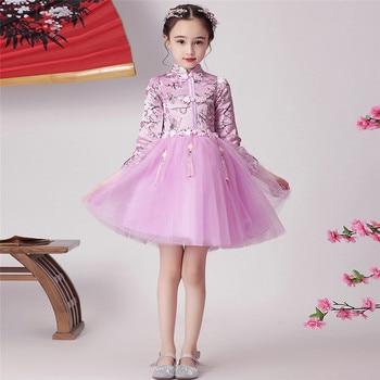 2019Autumn Winter Little Girls Children Chinese Traditional Style Qipao Dress For New Year Festival Baby Kids Cheongsam Dress