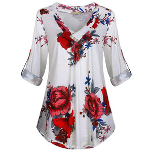 5XL Plus Size Women Tunic Shirt 2020Autumn Long Sleeve Floral Print V-neck Blouses And Tops With Button Size Women Clothing wh