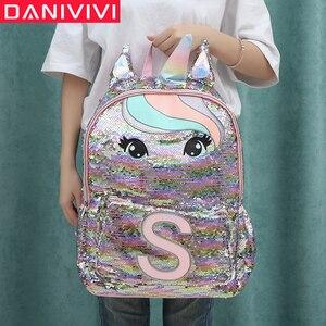 Image 1 - Детский рюкзак с блестками и единорогом, детские школьные сумки для девочек подростков, милый рюкзак с мультипликационным принтом, большой рюкзак для младенцев
