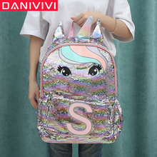 Unicorn Sequins Childrens Backpack Kids School Bags for Teenage Girls Backpack Cartoon Cute Backpacks Large Mochila Infantil