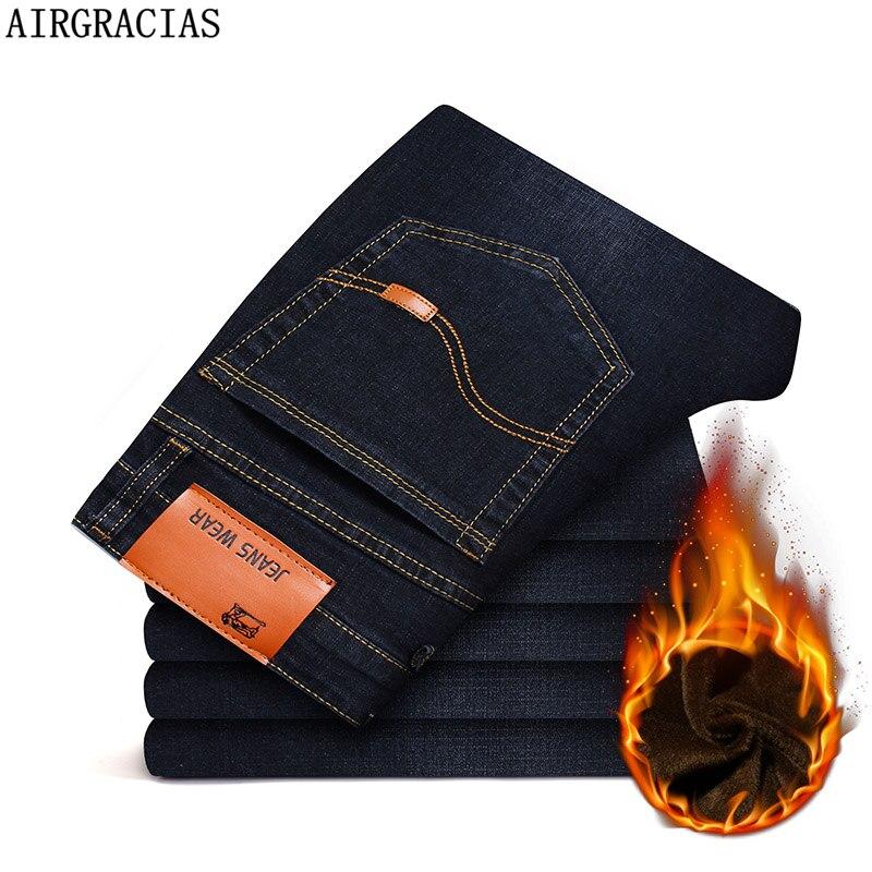 AIRGRACIAS 2019 New Men Warm Jeans High Quality Famous Brand Winter Denim Jeans Thicken Fleece Men Jeans Long Trouser 28-44