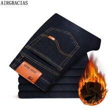 Airgracias homens inverno quente calças de brim de alta qualidade famosa marca inverno denim denim engrossar lã calças de brim longas 28 44
