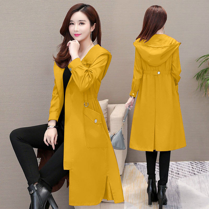 Women Trench Coat Fashion Korean Style Vintage Pullover Long Spring Autumn Plus Size Windbreaker Lady Casual Yellow Red Clothes
