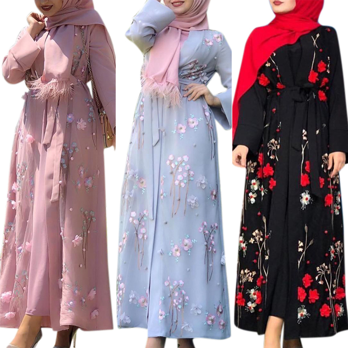 Embroidery Arabic Robe Dubai Abaya Islam Muslim Hijab Dress for Women Fashion Kimono Kaftan Caftan Islamic Clothing Hicap Elbise