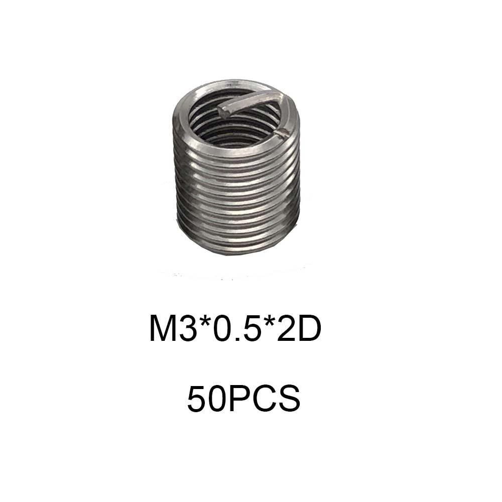 50pcs M3*0.5*2D Silver Thread Repair Insert Kit Set 304 Stainless Steel For Hardware Repair Tools