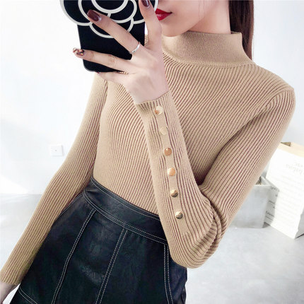 OHCLOTH Sweater female Half downneck female thickening 2019 new winter sweater slim all-match elastic knit Fashion slim sweaters title=