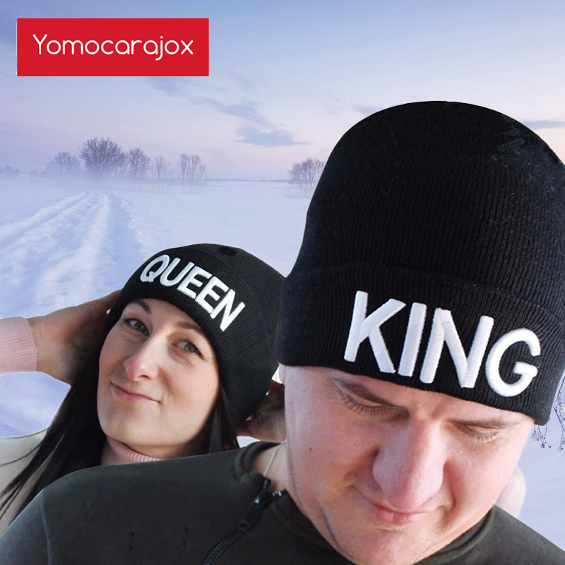 Warm Winter Autumn Elastic New KING QUEEN Beanies Knit Couples Caps Skullies Bonnet Homme Hats For Men Women Ski Sports Hat