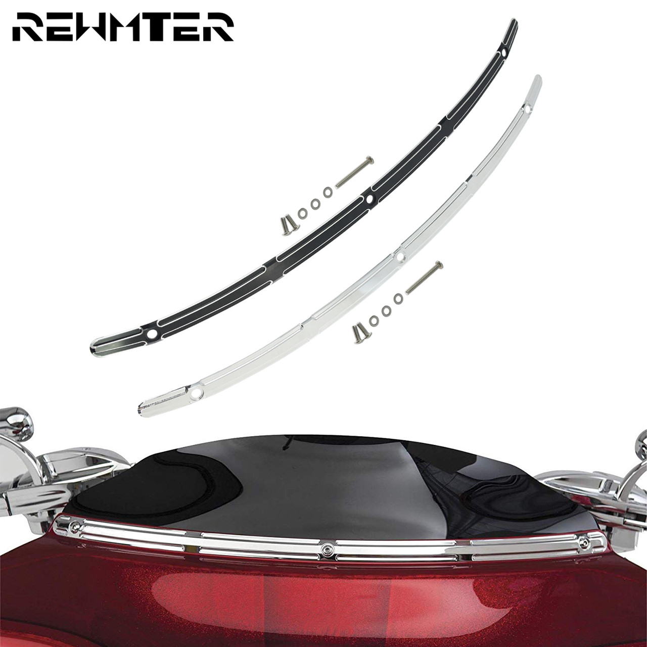 Motorcycle CNC Windscreen Trim Black/Chrome Windshield Trim Aluminum For Harley Street Glide Electra Glide Models 2014-2019