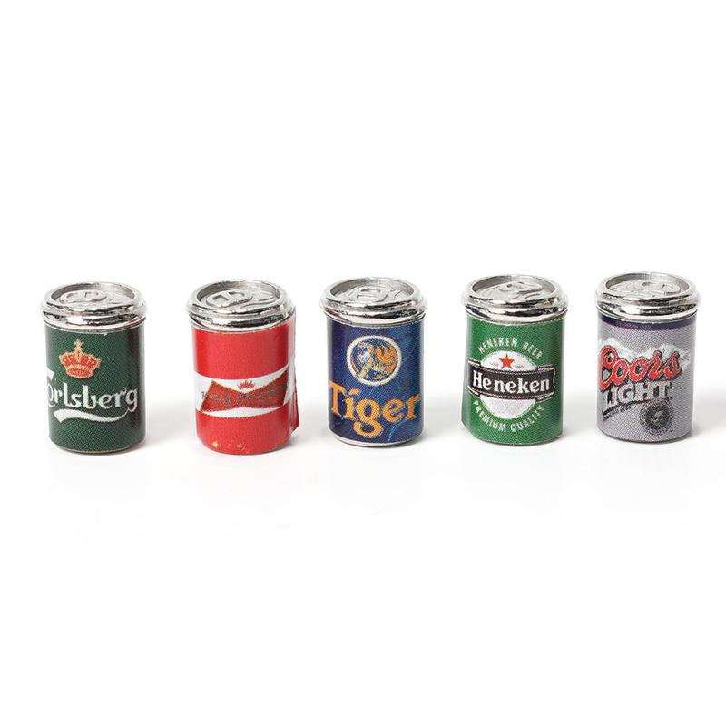 5pcs Miniature Bottles Of Beer Cans 1:12 Dollhouse Furniture Accessories Crafts Toys Gifts For Children