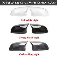 ل B M W X3 X4 X5 X6 سلسلة F25 F26 F15 F16 ألياف الكربون مرآة خلفية غطاء ABS مرآة الرؤية الخلفية استبدال غطاء 2014 2018