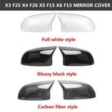 Dla B M W X3 X4 X5 X6 serii F25 F26 F15 F16 z włókna węglowego lusterko wsteczne pokrywa ABS lusterko wsteczne wymiana pokrywa 2014 2018