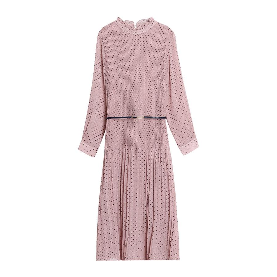 2019 Femal Vintage Pink Dot Chiffon Midi Pleated Dresses Autumn Winter Long Sleeve Dress Elegant Women Bodycon Party Vestidos