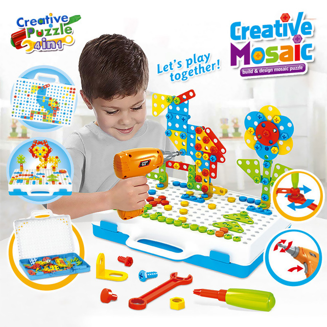 Drilling Screw 3D Creative Mosaic Puzzle Toys For Children Building Bricks Toys Kids DIY Electric Drill Set Boys Educational Toy 1