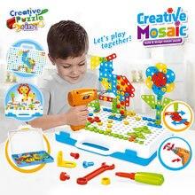 Bohren Schraube 3D Kreative Mosaik Puzzle Spielzeug Für Kinder Bausteine Spielzeug Kinder DIY Elektrische Bohrer Set Jungen Pädagogisches Spielzeug