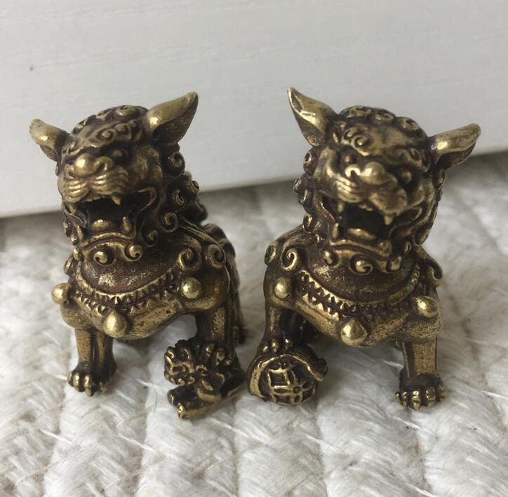 Chinês bronze puro feng shui espírito mau auspicioso foo cão leão estátua (recomendado para comprar 2 peças) 2 pcs = um par