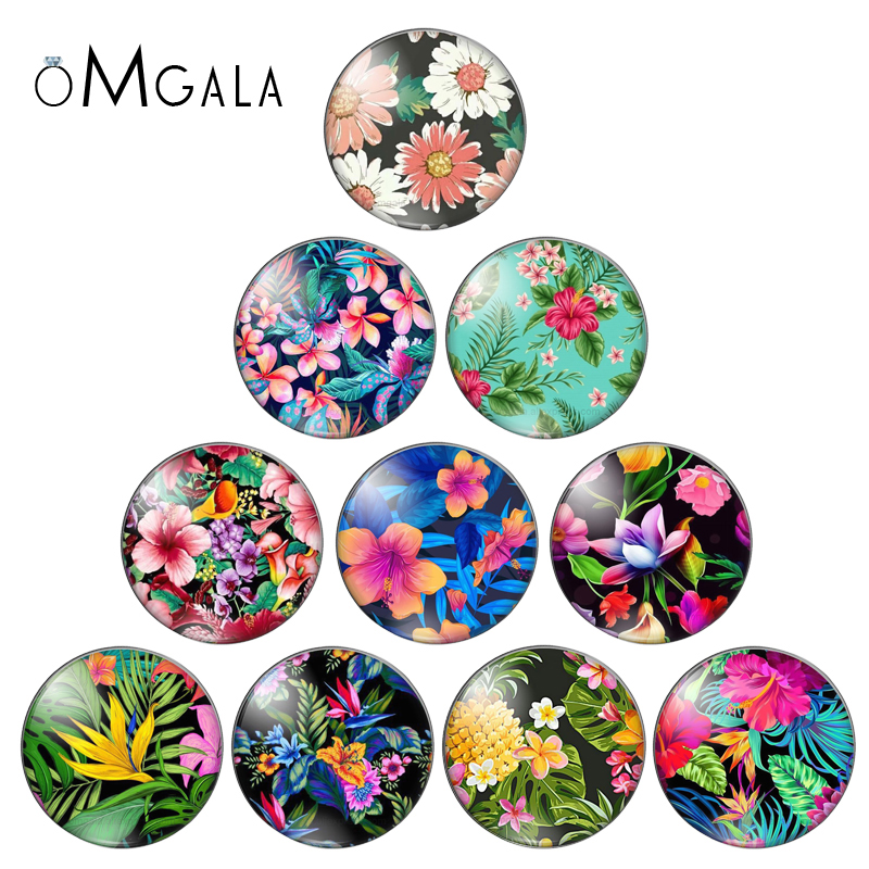 Beauty FlowersColorful Flowerpatterns 10pcs 12mm/18mm/20mm/25mm Round Photo Glasscabochon Demo Flat Back Making Findings