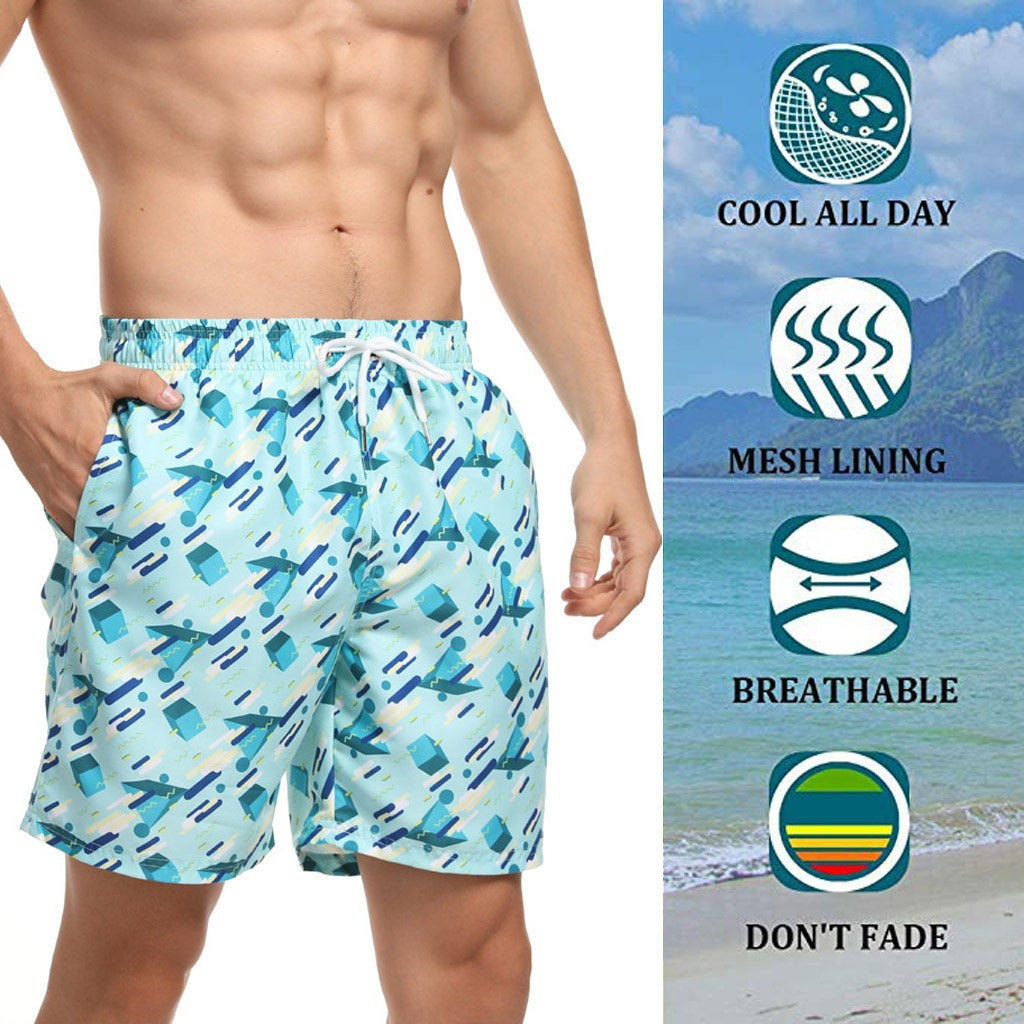Shorts Beachwear шорты мужские Sport Summer Print Mesh Lining Trunks Board Quick Dry Beach Surfing Short Pants Free Ship