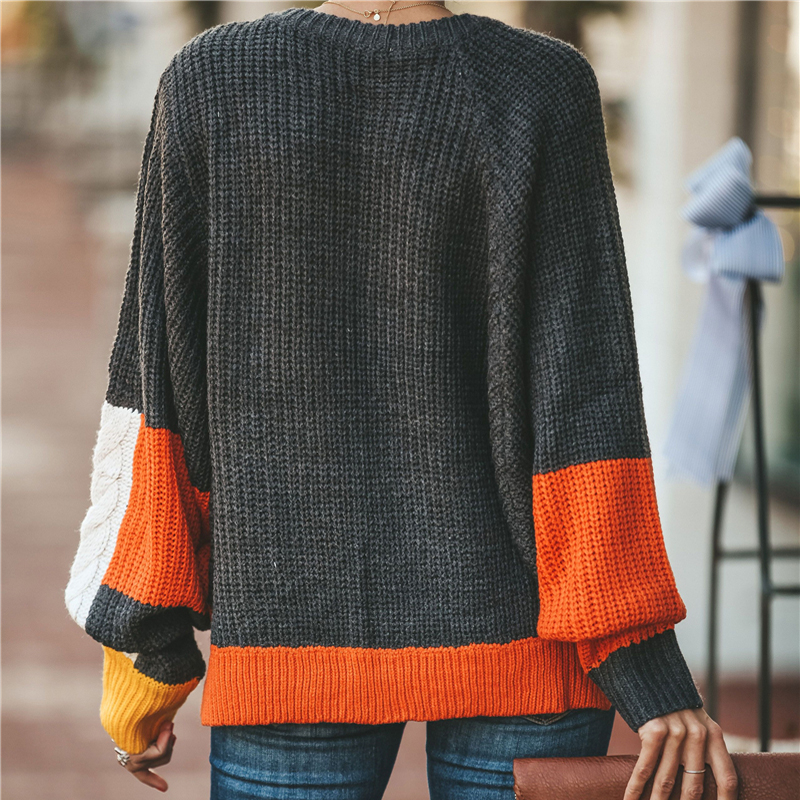IUURANUS 2019 Women New Vintage Sweater Autumn Winter Casual Multi Color Stitching O Neck Lantern Sleeve Knitted Pullover Loose in Pullovers from Women 39 s Clothing